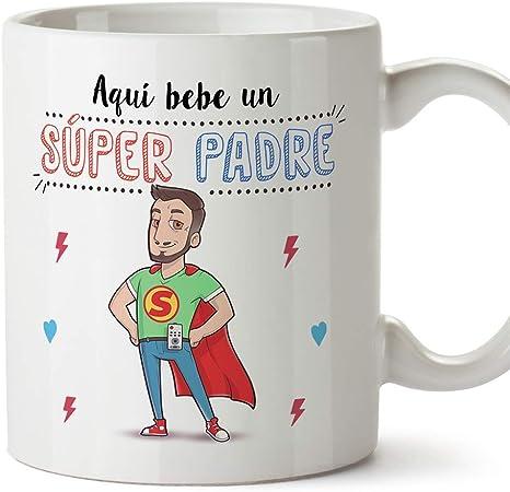 MUGFFINS Taza Papá - Aquí Bebe un Super Padre - Taza Desayuno/Idea Regalo Día del Padre. Cerámica 350 mL: Amazon.es: Hogar
