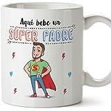 MUGFFINS Taza Papá - Aquí Bebe un Super Padre - Taza Desayuno/Idea Regalo Día del Padre. Cerámica 350 mL