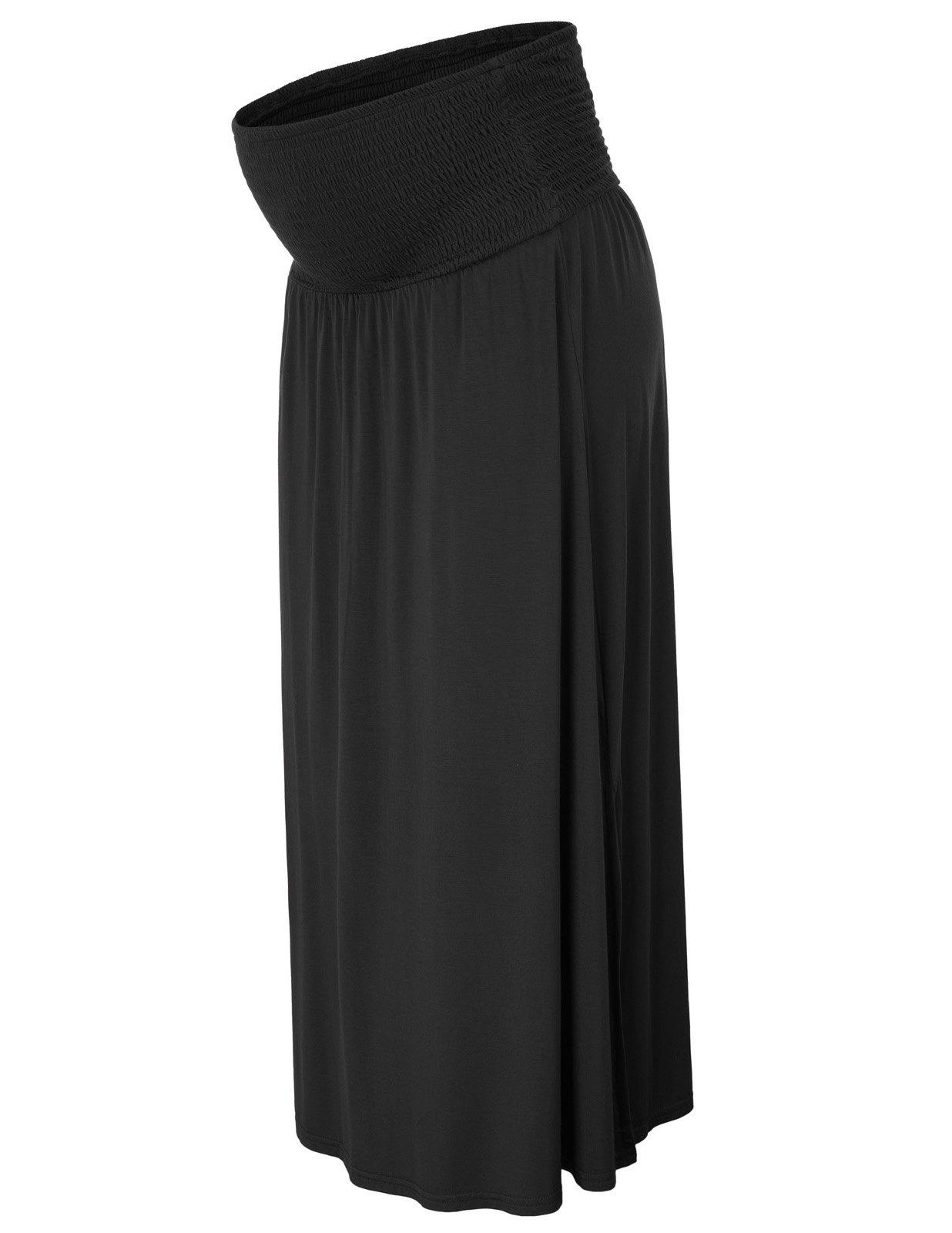 Ladies Side Split Fold Over Strapless Maternity Dress Maxi Skirt L Black