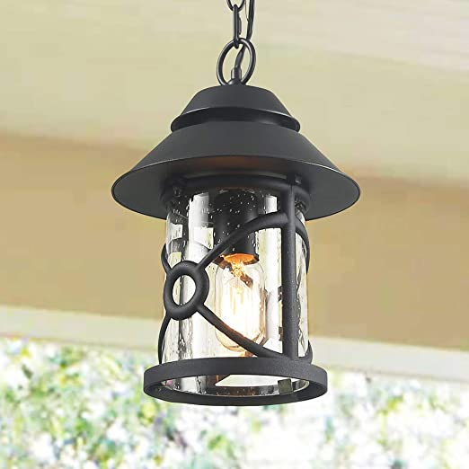 wholesale dealer 9b04c 6dbc4 LOG BARN Farmhouse Outdoor Lantern, Rustic Outside Pendant Lighting in  Painted Black Metal with Clear Seeded Glass Globe, 12.6