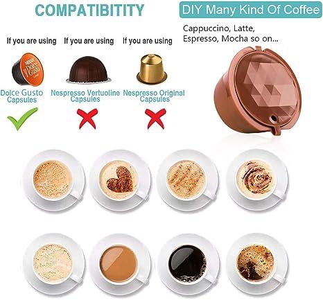 CAPMESSO Filtros C/ápsulas de Caf/é Recargable Reutilizable para Cafetera Dolce Gusto Version Mejorado Presi/ón Aumentada Y M/ás Espuma Vida /útil m/ás de 100 usos