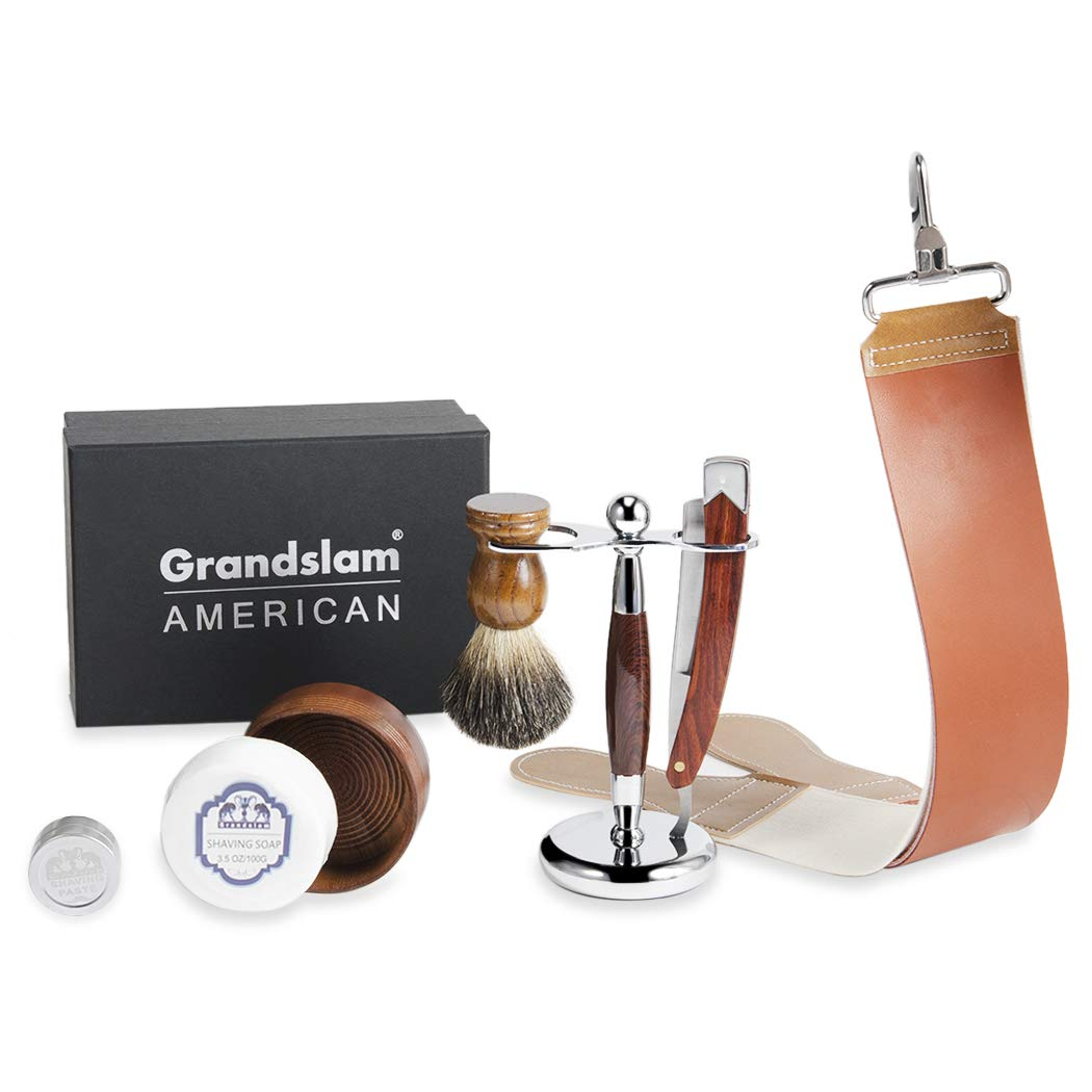 Men Straight Shaving Razor Badger Hair Brush Stand Holder Leather Strop Soap Bowl by Grandslam