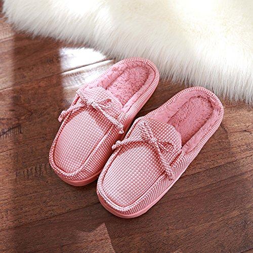 Aemember zapatillas de algodón suave invierno las parejas femeninas de Soles Skid prueba Zapatos, Otoño e Invierno interiores domésticos mopa de algodón grueso Inicio inferior,36-37 (adecuado para 35-36),el caucho rojo 36-37 (s