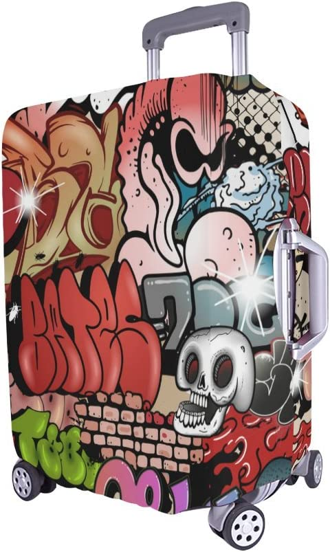 Traveling Luggage Cover Graffiti Design Suitcase Protector Fits 20X24 Inch Luggage Trolley Case