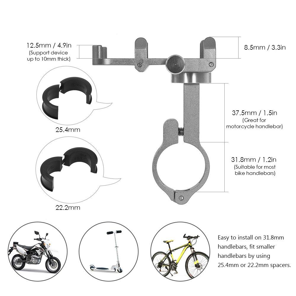 Lixada Porta Telefono Bici Nero Girevole a 360 Gradi Supporto per Manubrio della Bici in Alluminio Regolabile in Lunghezza Supporto per Morsetto per Telefono Clip-on per 3,5-6,2 Telefoni