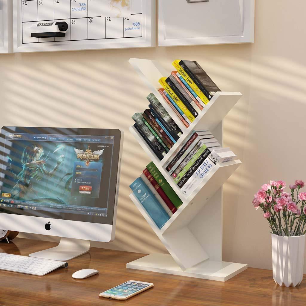 ZXPzZ ツリー本棚竹本棚ハードウッドディスプレイラック4棚本棚フロアスタンド自立棚収納 (色 : 白) B07RJYQ471 白