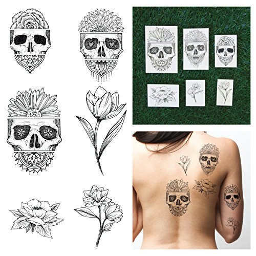 [Tattify Hand Drawn Skull And Flower Temporary Tattoos, Avant Gardener ( Complete Set of 12 Tattoos - 2 of each Style), Individual Styles Available, Fashionable Temporary] (Toddler Gardener Costume)