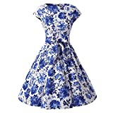 CUTECATCOS Women's Cap Sleeves 50s Inspired Vintage Floral Rockabilly Swing Pinup Dresses (S (US 2-4), Blue and White)