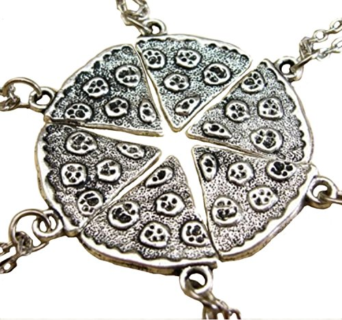 (Hip Mall BFF Best Friends Pizza Pendent Friendship Necklaces Set of 6)