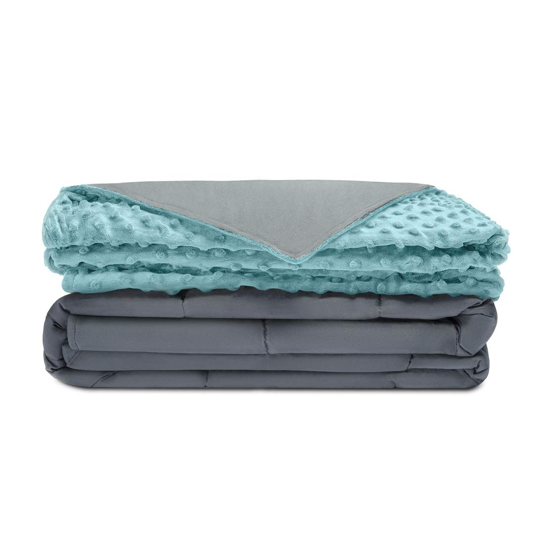 Quility Premium Adult Weighted Blanket & Removable Cover | 30 lbs | 86''x92'' | For Individual or Couples Between 220-280 lbs | Queen/King Size Bed | Premium Glass Beads | Cotton/Minky | Grey/Aqua Color