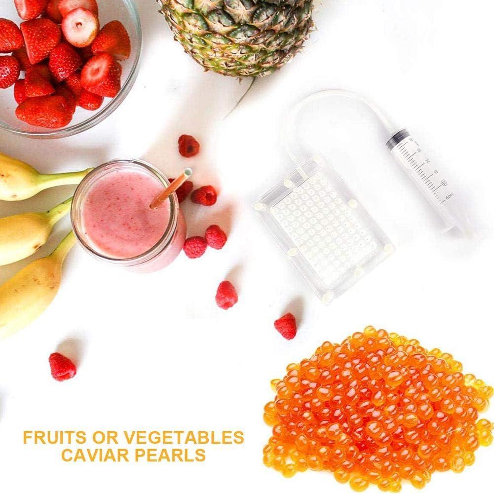 Spherification Dropper Caviar Maker Box 96 Holes Roe Sauce Dispenser Strainer Tools with Spoon /& Syringe Molecular Gastronomy Kit