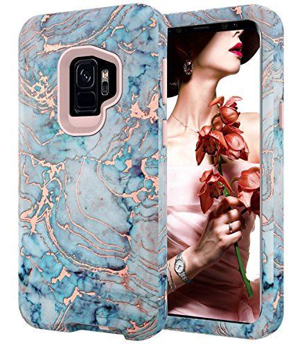 Galaxy S9 Case, S9 Shiny Rose Gold Blue Gray Marble Case,BAISRKE Heavy Duty Hybrid 3-Layer Full-Body Protect Case Soft TPU & Hard Plastic Back Cover for Samsung Galaxy S9 (2018)