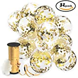 Gold Confetti Balloons with Curling Ribbon Roll & Flower Clips 32 Pack | Premium 12 Inch Latex Party Balloons - Filled - with Round Golden Mylar Foil Dot Confetti | For Birthday, Wedding, Proposal