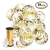 Arts & Crafts : Gold Confetti Balloons with Curling Ribbon Roll & Flower Clips 32 Pack | Premium 12 Inch Latex Party Balloons - Filled - with Round Golden Mylar Foil Dot Confetti | For Birthday, Wedding, Proposal