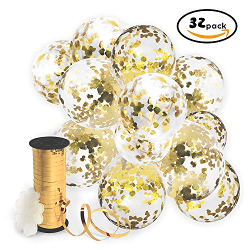 Gold Confetti Balloons with Curling Ribbon Roll & Flower Clips 32 Pack | Premium 12 Inch Latex Party Balloons - Filled - with Round Golden Mylar Foil Dot Confetti | For Birthday, Wedding, Proposal Curling Ribbon Party Decorations