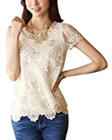Genluna Women Ladies Long Sleeve Embroidered Chiffon Casual Loose Tops Blouse Shirt