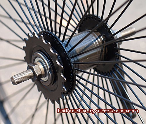 "FITO 68 SPOKE 26"" WHEEL SET KIT BLACK, WITH KT / QUANDO REAR COASTER PEDAL BRAKE, FOR SINGLE / 1 SPEED BEACH CRUISER BIKES"