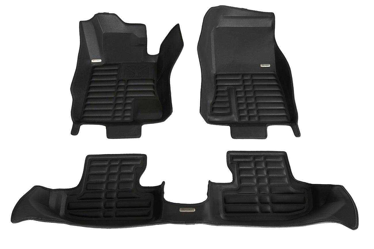 TuxMat Custom Car Floor Mats for Ford Mustang 2015-2019 Models - Laser Measured, Largest Coverage, Waterproof, All Weather. The Ultimate Winter Mats, Also Look Great in the Summer. The Best Ford Mustang Accessory. (Full Set - Black)