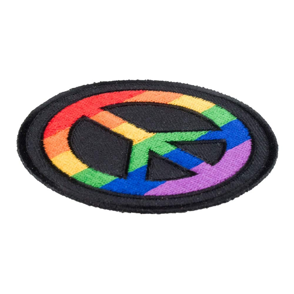 Rainbow Peace Sign Round Patch Peace Sign Patches