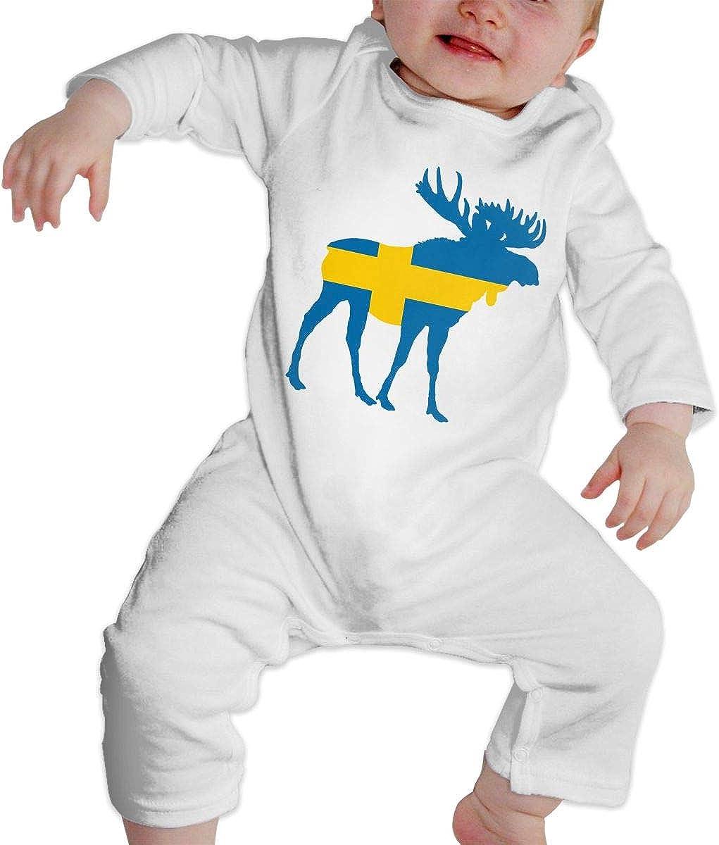 RuimingDe Baby Romper Jumpsuit Swedish Flag Moose Infant Long Sleeve Bodysuit One Piece Outfits
