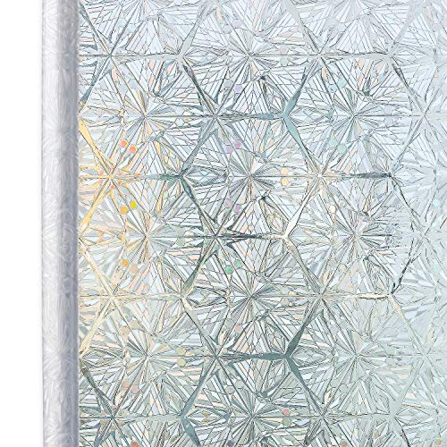 Homein Window Film Privacy, 3D Crystal Clear Diamond Decorative Stained Glass Window Film Rainbow Effect Removable Self Adhesive Door Sticker Static Cling Window Paper for Kitchen 35.4