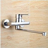 MulFaucet Robinet de cuisine encastré mitigeur robinet eau chaude et froide applique murale bassin pour la lessive robinet corps en cuivre
