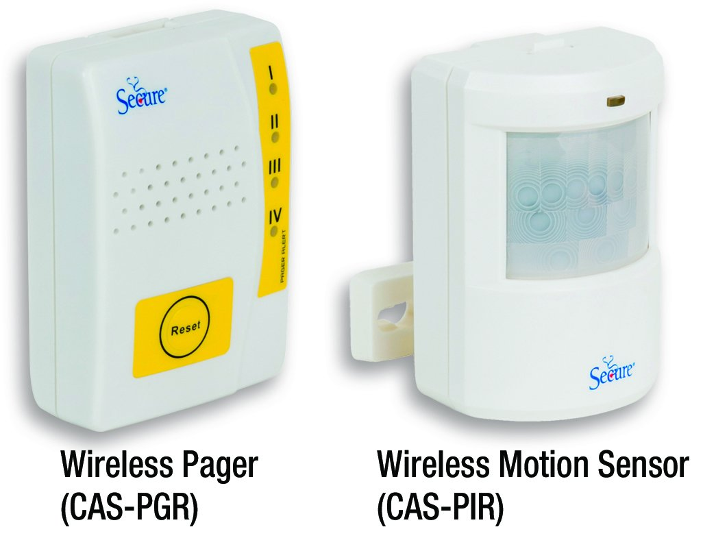 Secure Wireless Caregiver Pager and PIR Motion Sensor for Elderly Patient Wandering and Fall Prevention