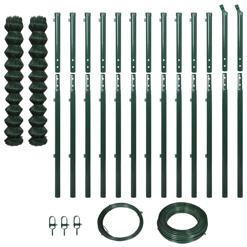 Festnight Chain-Link Garden Fence Set Animal Steel Wire Net Border Green with Posts Length  25 m Height  1.97 m