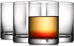 Kingrol 4 Pack 8 oz Drinking Glasses, Crystal Short Glass Tumblers, Glassware Set for Beverages, Juice, Cocktails