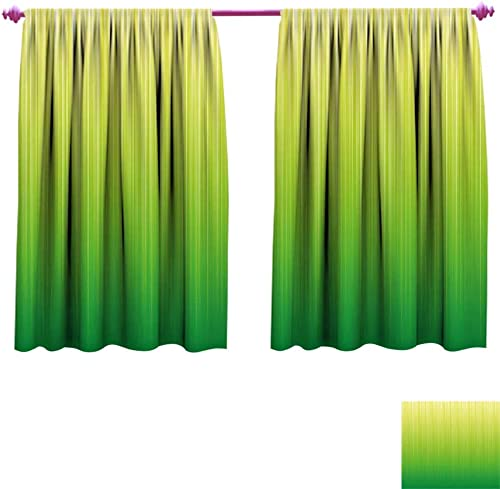 Lime Green Room Darkening Wide Curtains Pin Striped Digital Background Highlight Lines Abstract Style Futuristic Print Waterproof Window Curtain W55 x L39 Pale Green