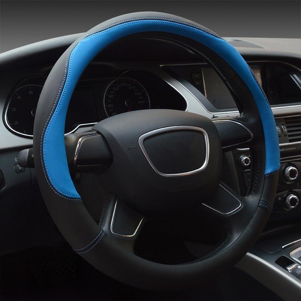 Auto Accessories 2018 New Car Steering Wheel Cover Microfiber Leather Universal, bluee, 38cm