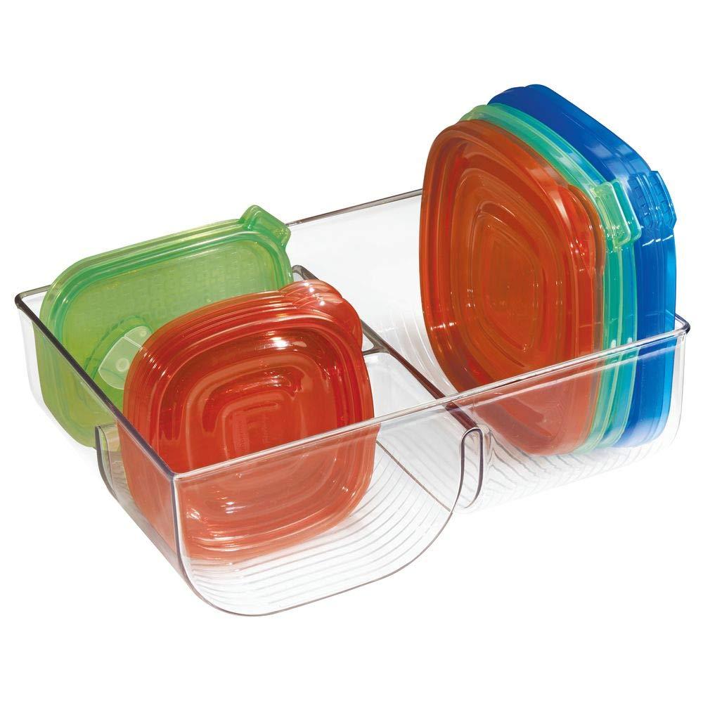 mDesign Organizador de cocina, para guardar tapas de alimentos; organiza gabinete de cocina,