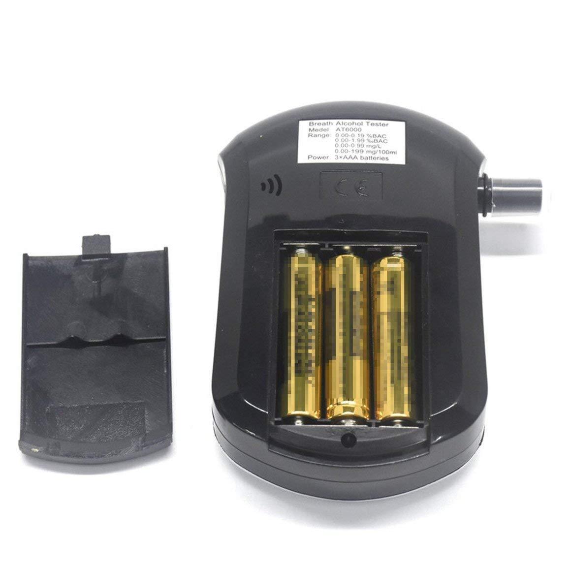 Paperllong/® AT-6000 Alkoholtester Alkohol-Detektor Digitaler LCD-Bildschirm Batterieleistung Hand-Hold Professioneller BAC-Tracker mit 5 Mundst/ücken
