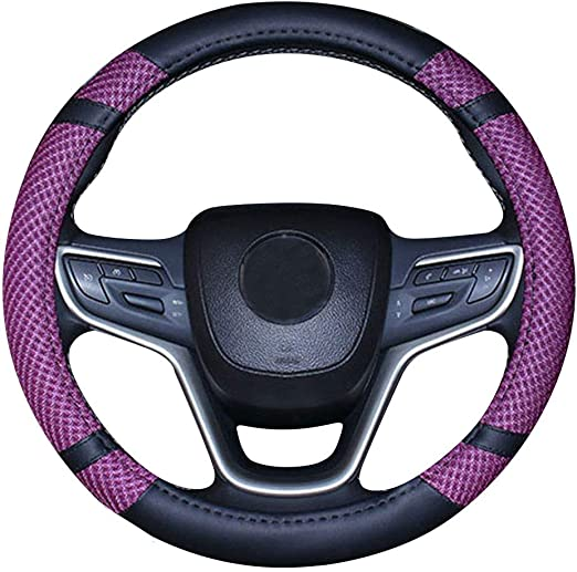 Mayco Bell Microfiber Leather Steering Wheel Cover Wavy Line Splice X-stitch Pattern Beige