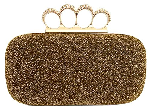 Chicastic Glitter Metallic Duster Four Ring Knuckle Clutch Evening Purse With Rhinestones - Gold