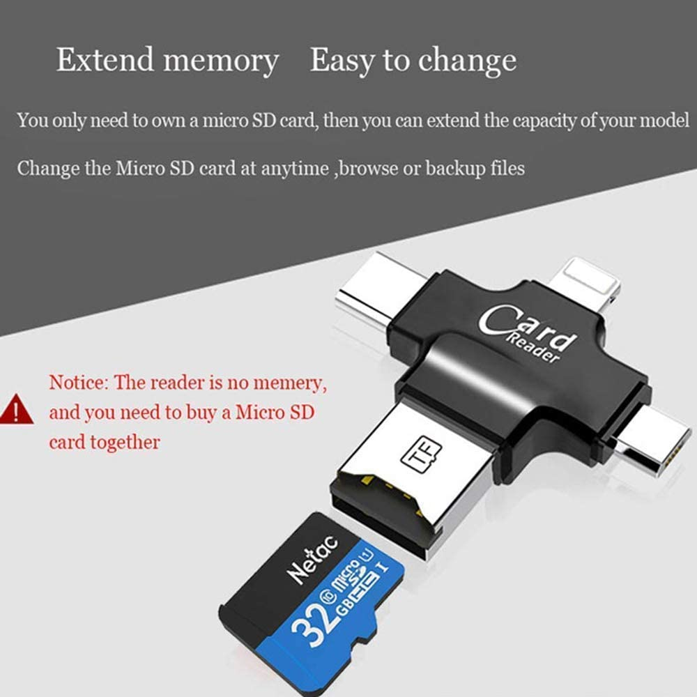4 in 1 USB 2.0 SD Card Reader TF Card Reader Camera Card Reader with Type-C for iPhone//Ipad//Android//MacBook//PC Laptop GTJXEY Memory Card Reader Adapter