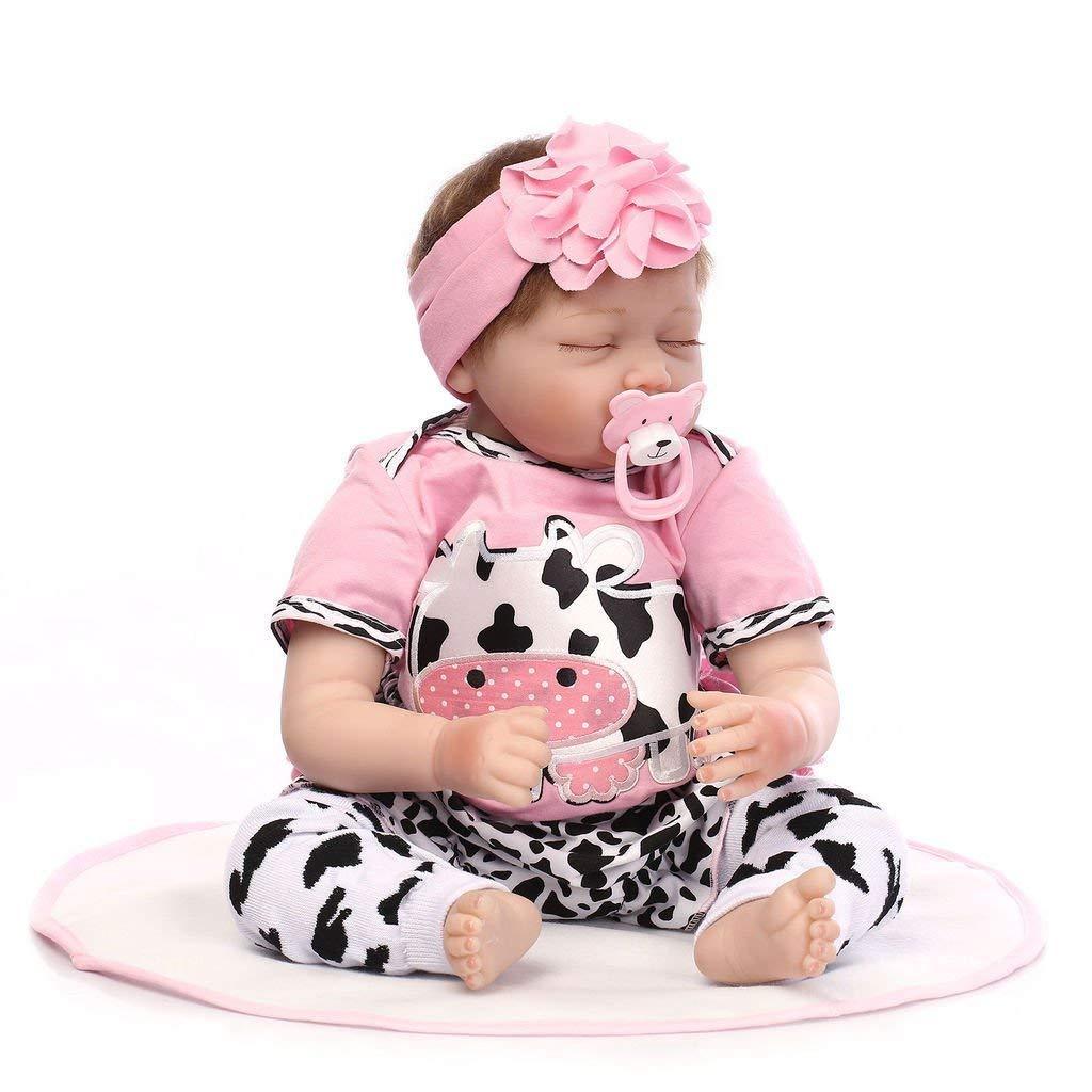 bff85120e7 Amazon.es: HOOMAI 22inch 55CM realista Dormir reborn muñeca bebé niñas  vinilo suave silicona baby doll Niños pequeños baratos Magnetismo Juguetes  recien ...