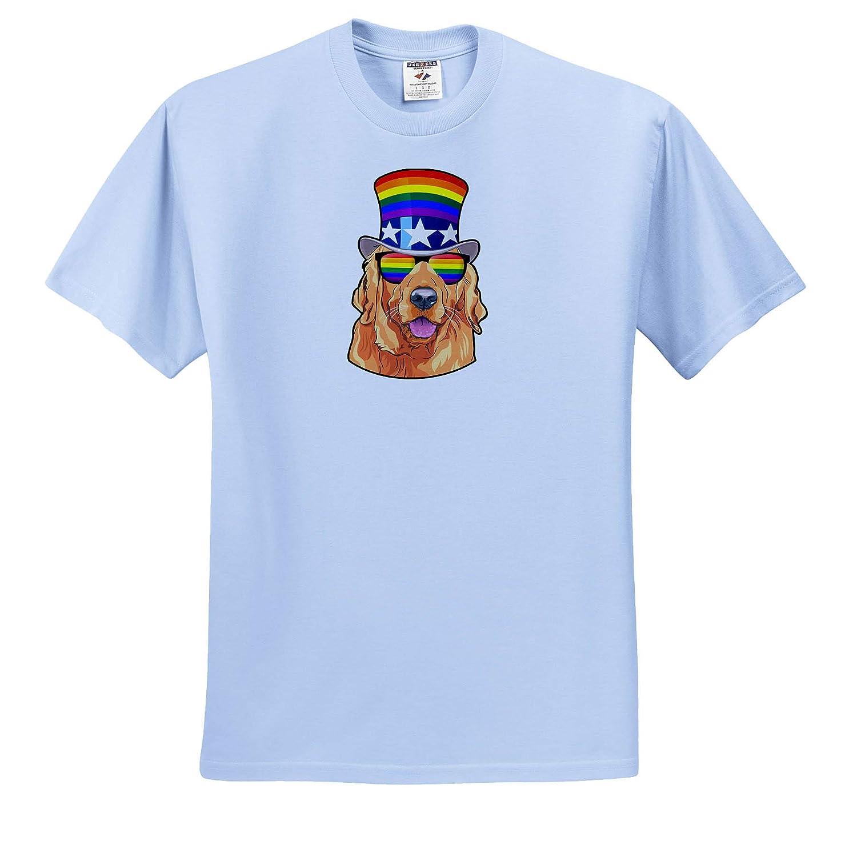 T-Shirts LGBT Golden Retriever Dog Wearing a Rainbow Flag top hat and sunlasses 3dRose Carsten Reisinger Illustrations