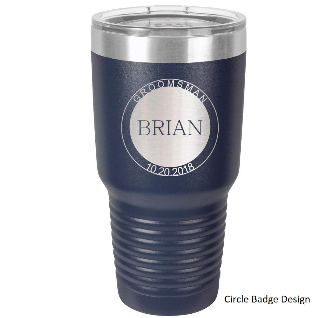 Groomsmen Tumbler - 30 oz - Set of 4 to12 - Stainless Steel Personalized Custom Engraved with Clear Lids - Choice of Colors, Design & Spill Proof Slide Lids - Bridesmaid, Wedding, Bridal Party Gift