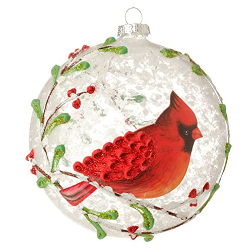 red cardinal berry branches glass ball christmas tree ornament 5 inches - Beautiful Christmas Ornaments