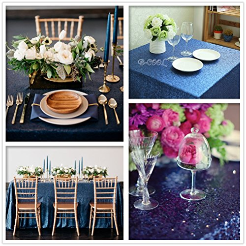 "B-COOL 50""x80"" Shiny Navy Blue Sequin Glamorous Tablecloth for Halloween/Thanksgiving Day/Wedding/Party/Curtain/Birthday/Christmas/New Year and Other Event Decor"