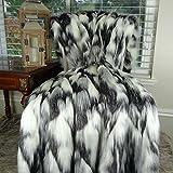 Thomas Collection Gray Black White Faux Fur Throw Blanket & Bedspread, Tibet Fox Fur, Gray Black White Luxury Faux Fur, Soft Faux Fur Blanket, Made in America, 16438