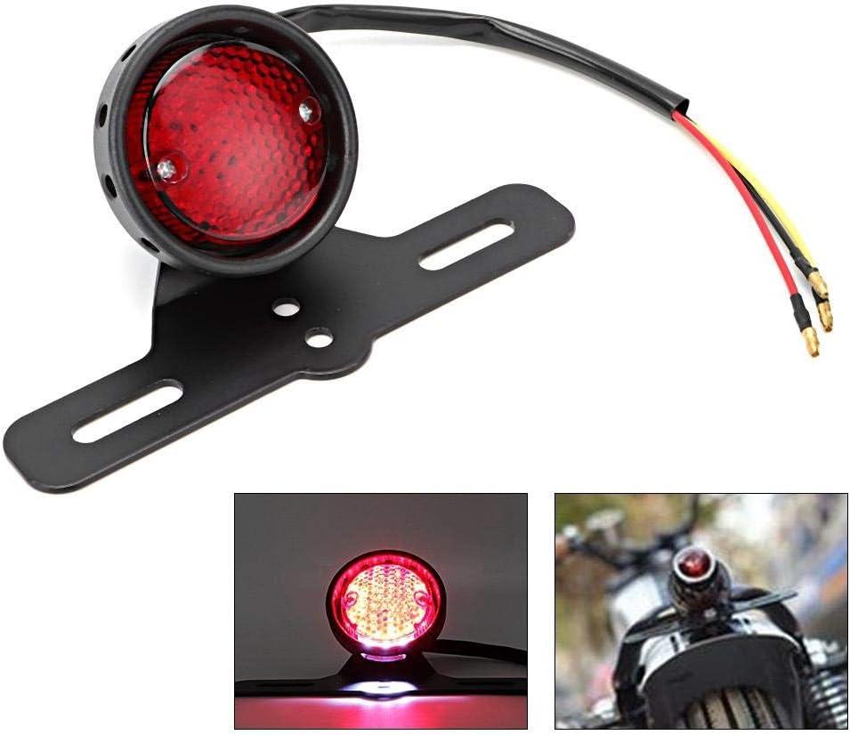 Qii lu lega di alluminio e ABS universale moto retro lente convessa LED fanale posteriore stop luce freno luce