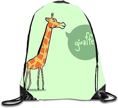 Drawstring Backpack Giraffe Cartoon Pattern Rucksack