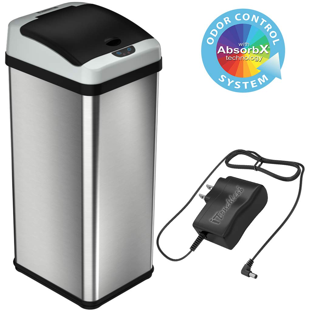 iTouchless 13 Gallon Stainless Steel Touchless Trash Can with AC Adapter, Platinum Limited Edition, Odor Control System Kitchen Bin by iTouchless