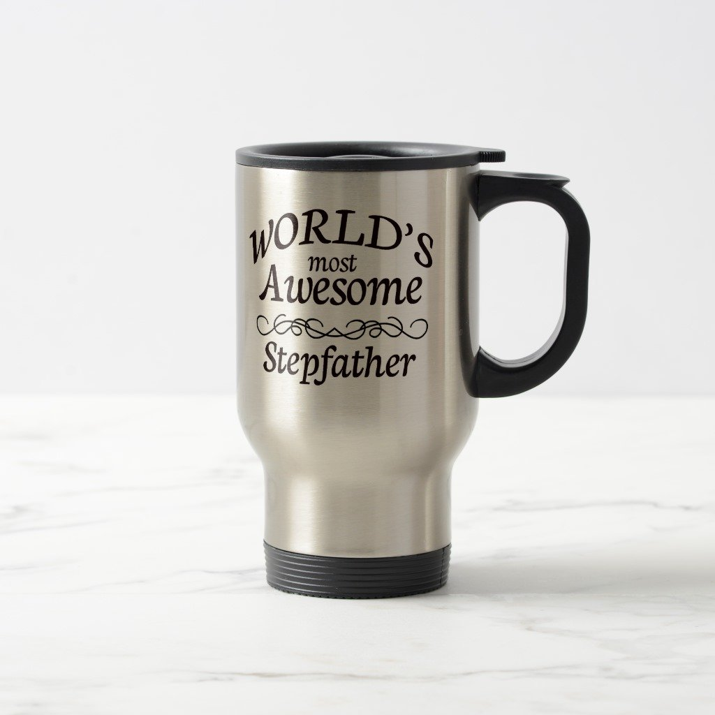 Zazzle World's Most Awesome Stepfather Coffee Mug, Stainless Steel Travel/Commuter Mug 15 oz