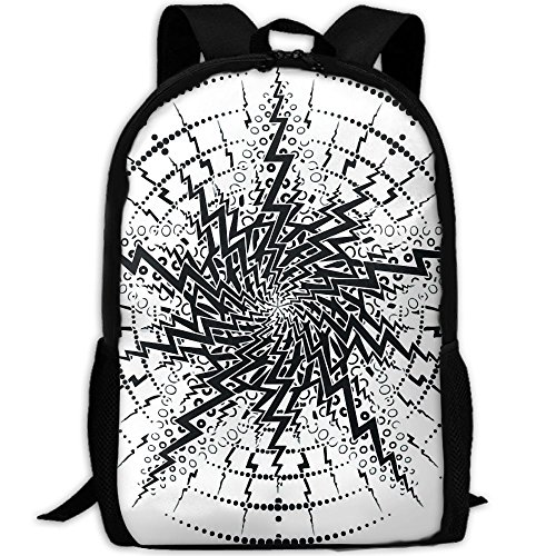 KIENGG Black and White Vertigo Unisex Adult Custom Backpack,School Casual Sports Book Bags,Durable Oxford Outdoor College Laptop Computer Shoulder Bags,Lightweight Travel Daypacks