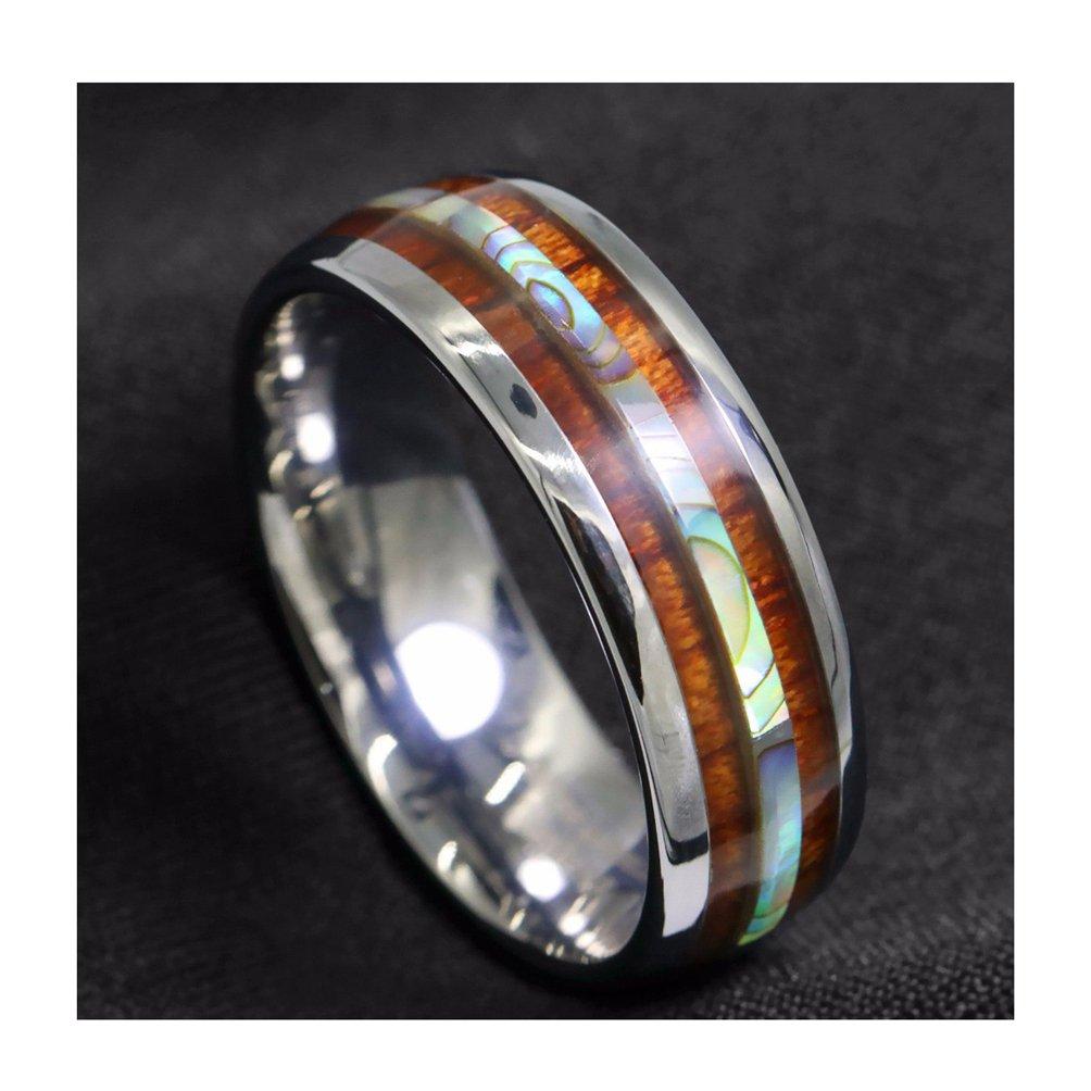 Amazon Moliston 8mm Tungsten Carbide Ring Koa Wood Abalone Wedding Band Mens Jewelry: Carbide Abalone Wedding Rings At Websimilar.org