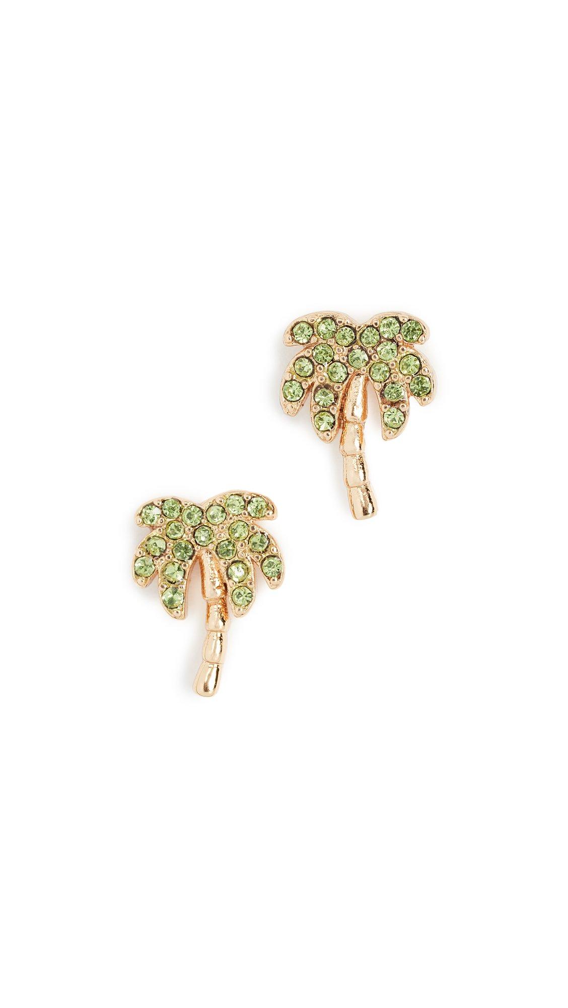kate spade new york Womens Pave Palm Tree Stud Earrings, Multi