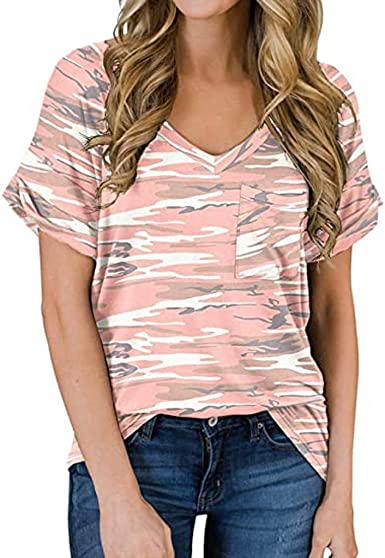 Camiseta Mujer Verano Moda Casual Manga Corta Leopardo Impresión Blusa Elegante Camisa Cuello en V Basica Camiseta Suelto Tops Fiesta Original T-Shirt ...